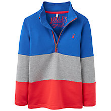 Buy Little Joule Boys' Dale Half Zip Colour Block Sweatshirt, Blue/Multi Online at johnlewis.com