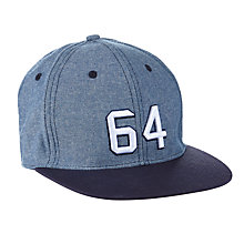 Buy John Lewis Children's Chambray Flat Peak Baseball Cap, Blue Online at johnlewis.com