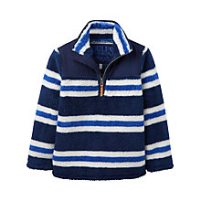 Buy Little Joule Boys' Woozle Half Zip Striped Fleece Top, Navy Online at johnlewis.com