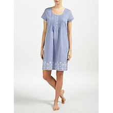 Buy John Lewis June Embroidered Short Sleeve Night Dress, Blue/White Online at johnlewis.com