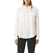 Buy AllSaints Mara Silk Shirt, Chalk White Online at johnlewis.com