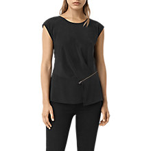 Buy AllSaints Kado Silk Top, Black Online at johnlewis.com