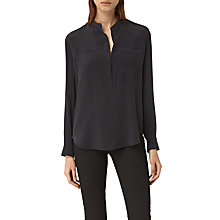 Buy AllSaints Marie Silk Shirt, Black Online at johnlewis.com
