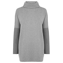 Buy Warehouse Rib Detail Roll Neck Top, Dark Grey Online at johnlewis.com