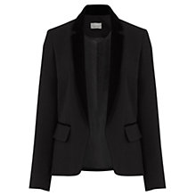 Buy Oasis Velvet Trim Tux Jacket, Black Online at johnlewis.com