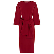 Buy Warehouse Tie Waist Crepe Dress, Dark Red Online at johnlewis.com