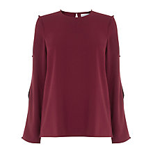 Buy Warehouse Diamante Button Sleeve Top Online at johnlewis.com