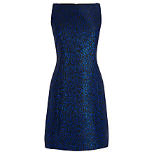 Buy Warehouse Disco Leopard Jacquard Dress, Blue Online at johnlewis.com