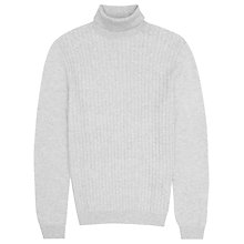 Buy Reiss Colmar Wool Cashmere Cable Roll Neck Jumper, Grey Online at johnlewis.com