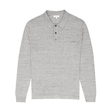 Buy Reiss Tucker Melange Long Sleeve Polo Shirt, Soft Grey Online at johnlewis.com