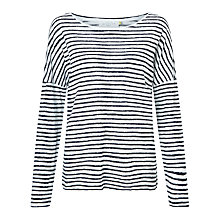 Buy Collection WEEKEND by John Lewis Stripe Drop Sleeve Linen Top, Navy Online at johnlewis.com