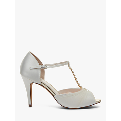 Rainbow Club Adrianna Satin and Tulle Stiletto Heel Court Shoes, Ivory