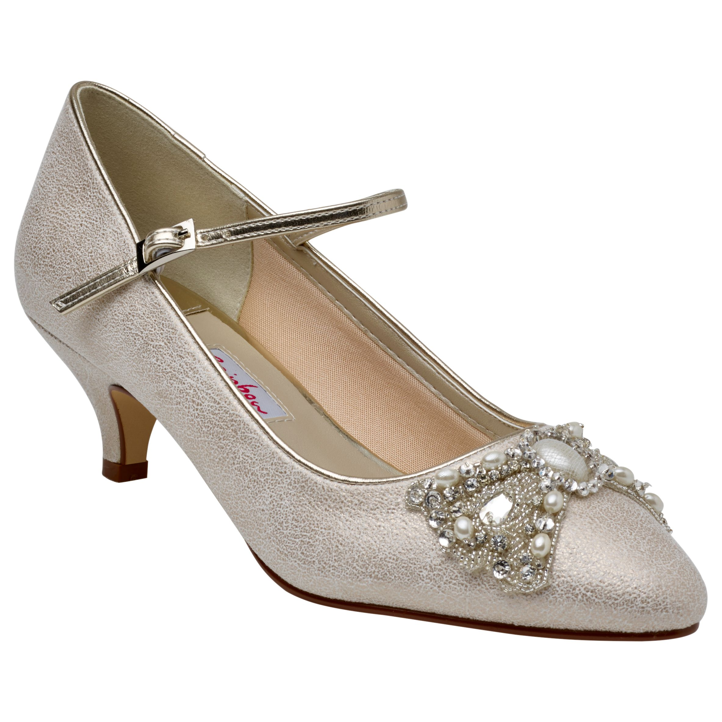Rainbow Club Rainbow Club Anastacia Kitten Heel Embellished Court Shoes, Champagne