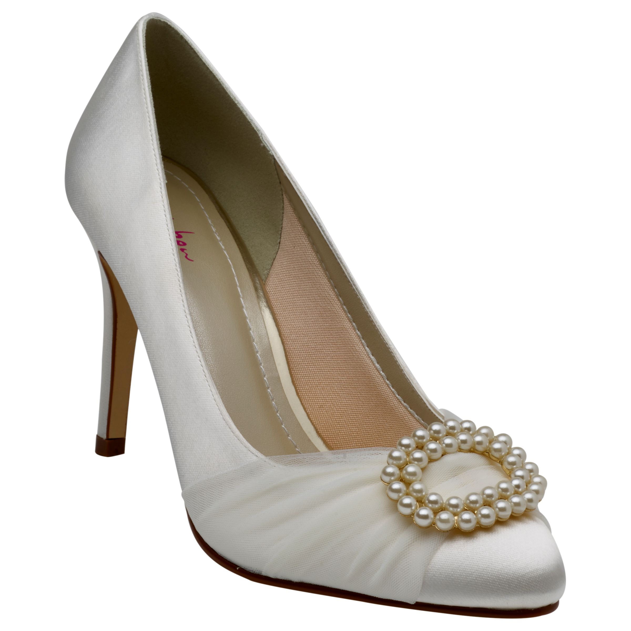 Rainbow Club Rainbow Club Beatrice Satin and Tulle Faux Pearl Stiletto Heel Court Shoes, Ivory