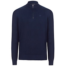 Buy Hackett London Garment Dye Cotton Wool Zip Neck Jumper, Navy Online at johnlewis.com