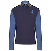 Buy Hackett London Long Sleeve Number Jersey Polo Shirt, Navy/Grey Online at johnlewis.com