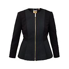 Buy Ted Baker Jumanaj Jacquard Panel Peplum Jacket, Black Online at johnlewis.com