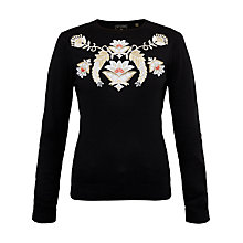 Buy Ted Baker Shani Opulent Orient Embroidered Jumper, Black Online at johnlewis.com