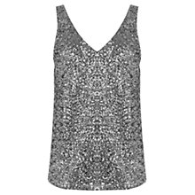 Buy Oasis Sequin V-Front And V-Back Vest, Silver Online at johnlewis.com