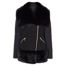 Buy Karen Millen Faux Fur Trim Padded Coat, Black Online at johnlewis.com