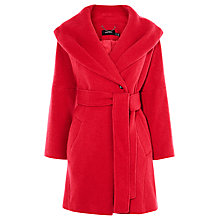 Buy Karen Millen Feminine Tie Belt Coat, Pink Online at johnlewis.com