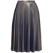 Buy Ted Baker Zainea Pleated Metallic Midi Skirt, Gold Online at johnlewis.com