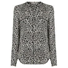 Buy Oasis Animal Print Wrap Back Shirt, Mid Grey Online at johnlewis.com