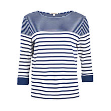 Buy Barbour Fins Stripe Sweatshirt, Cloud/Navy Online at johnlewis.com