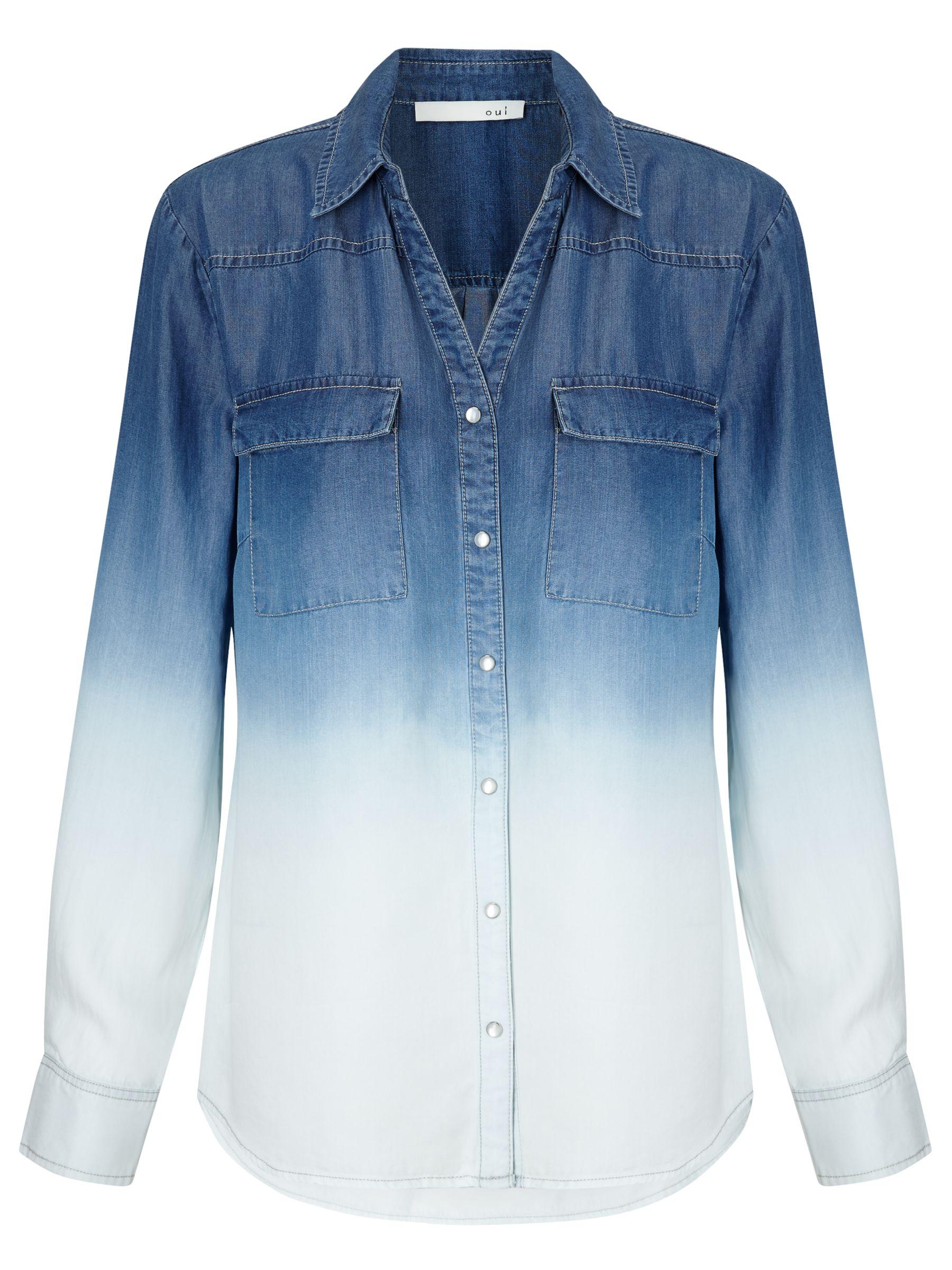 Oui Oui Ombre Shirt, Blue/White
