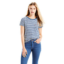 Buy Levi's Pocket Stripe T-Shirt, Willow Indigo/Marshmallow Online at johnlewis.com