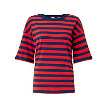 Buy Levi's Sutro Stripe Jersey Top, Blue/Scarlet Online at johnlewis.com