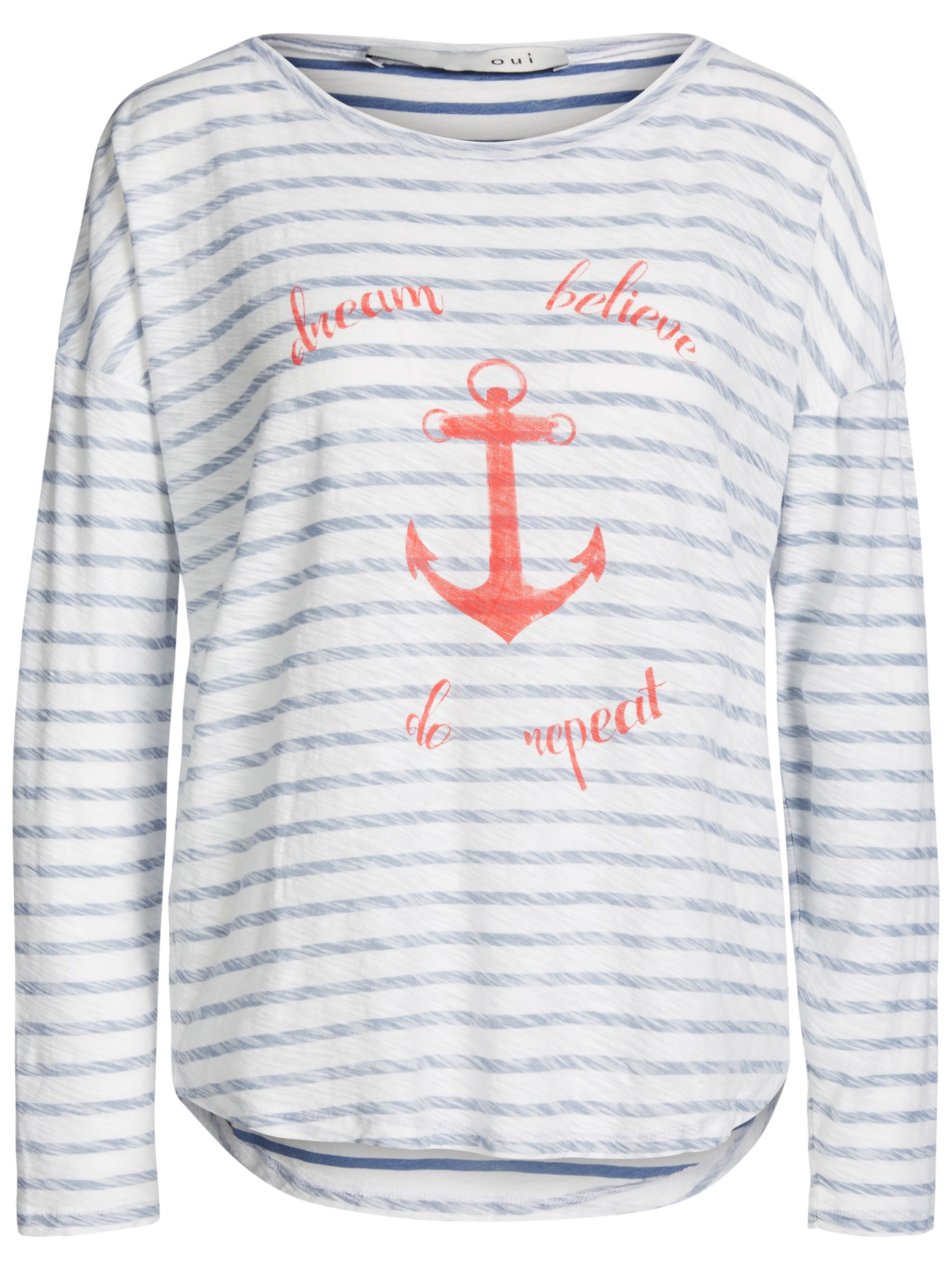 Oui Oui Anchor Stripe T-Shirt, White/Blue