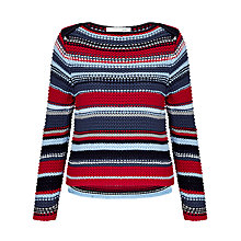 Buy Oui Chunky Knit Stripe Jumper, Red/Blue Online at johnlewis.com