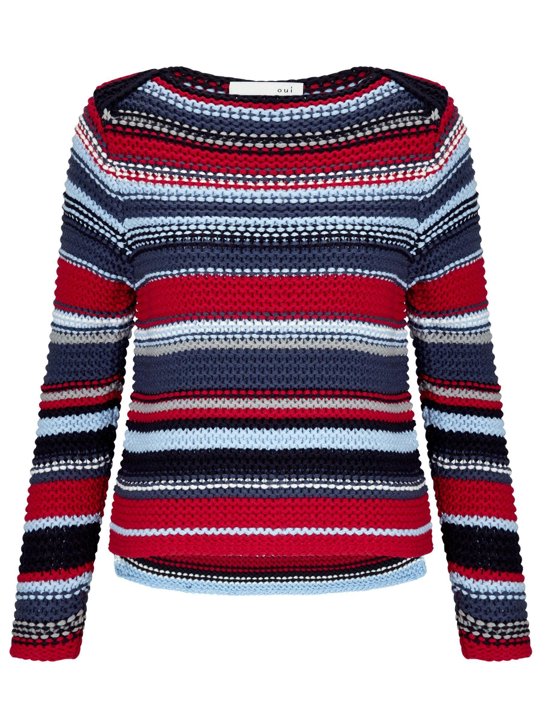 Oui Oui Chunky Knit Stripe Jumper, Red/Blue