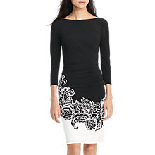 Buy Lauren Ralph Lauren Floral Print Jersey Dress, Black/Colonial Cream Online at johnlewis.com
