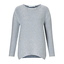 Buy Oui Thin Stripe Cotton Jumper, Dark Blue / White Online at johnlewis.com