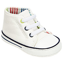 Buy John Lewis Baby Baseball Style Canvas Booties, White/Multi Online at johnlewis.com