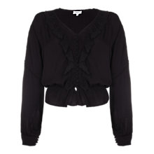 Buy Ghost Aliyah Lace Trim Blouse, Black Online at johnlewis.com