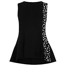 Buy Warehouse Printed Panel Ponte Top, Black Online at johnlewis.com