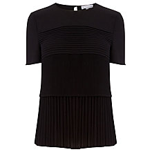 Buy Warehouse Pleated T-Shirt, Black Online at johnlewis.com