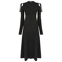Buy Warehouse Sparkle Tie Shoulder Dress, Black Online at johnlewis.com