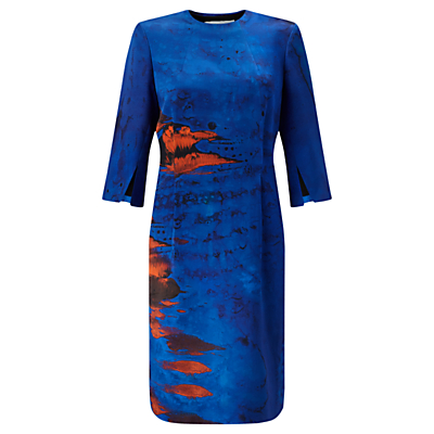 Jigsaw x Antonio Curcetti Palm House Funnel Neck Dress, Cobalt