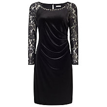 Buy Jacques Vert Petite Velvet Lace Dress, Black Online at johnlewis.com