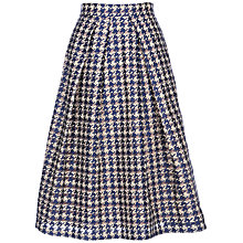Buy Yanny London Houndstooth Lace A-Line Skirt, Blue Online at johnlewis.com