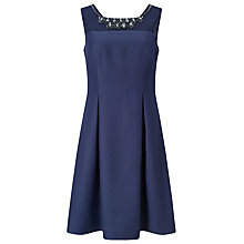 Buy Jacques Vert Petite Embellished Yoke Dress, Navy Online at johnlewis.com