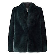 Buy Jacques Vert Faux Fur Jacket, Dark Green Online at johnlewis.com