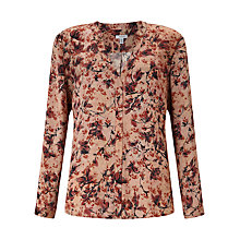 Buy Jigsaw Florentine Open Neck Silk Blouse, Ceramic Pink Online at johnlewis.com