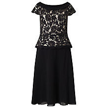 Buy Jacques Vert Lace Chiffon Cowl Neck Flare Dress, Black / Nude Online at johnlewis.com