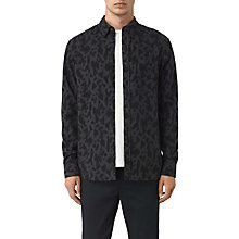 Buy AllSaints Montaud Abstract Print Slim Fit Shirt, Charcoal/Black Online at johnlewis.com