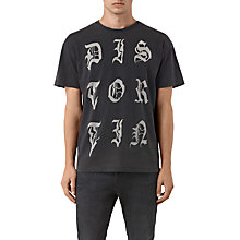 Buy AllSaints Distortin Gothic-Print T-Shirt, Vintage Black Online at johnlewis.com